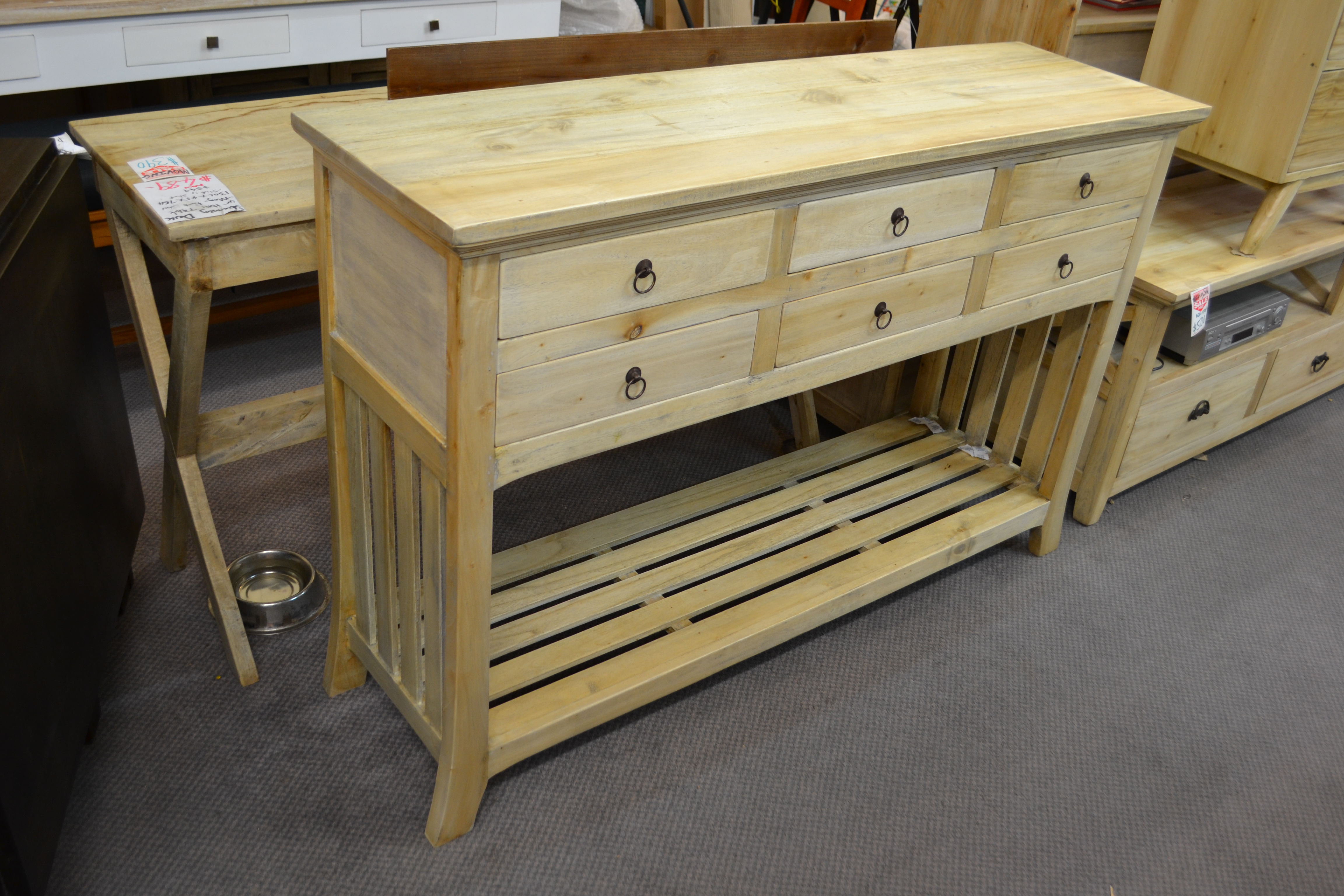 Superb img of Drawers storage hall table with bottom shelf with #8D733E color and 4608x3072 pixels