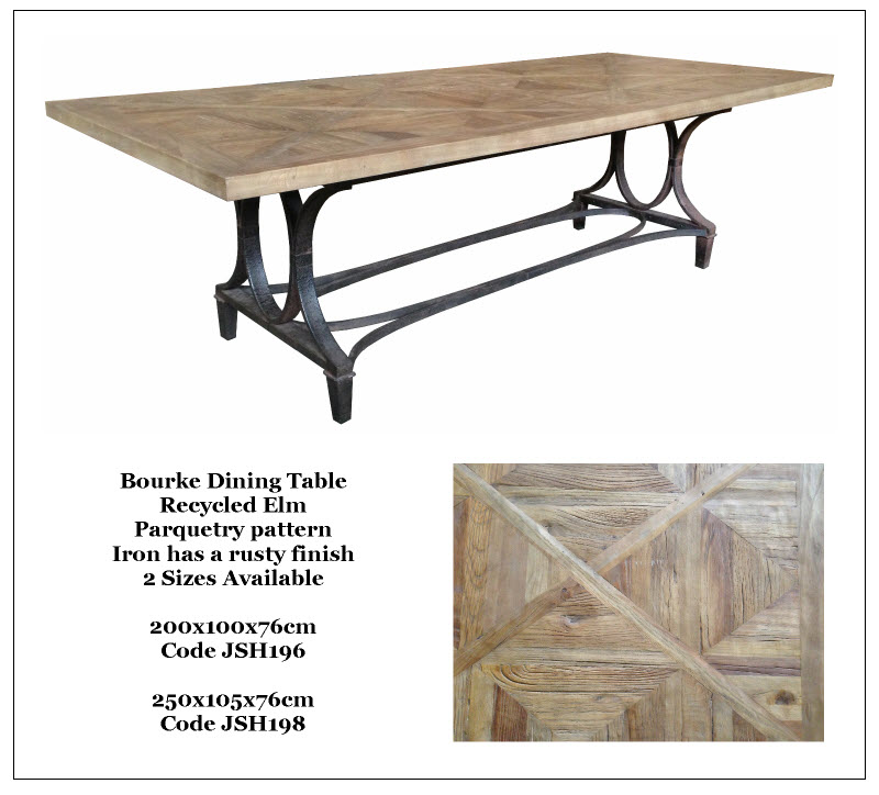A range of recycled elm new elm wood oak and Oregon dining tables